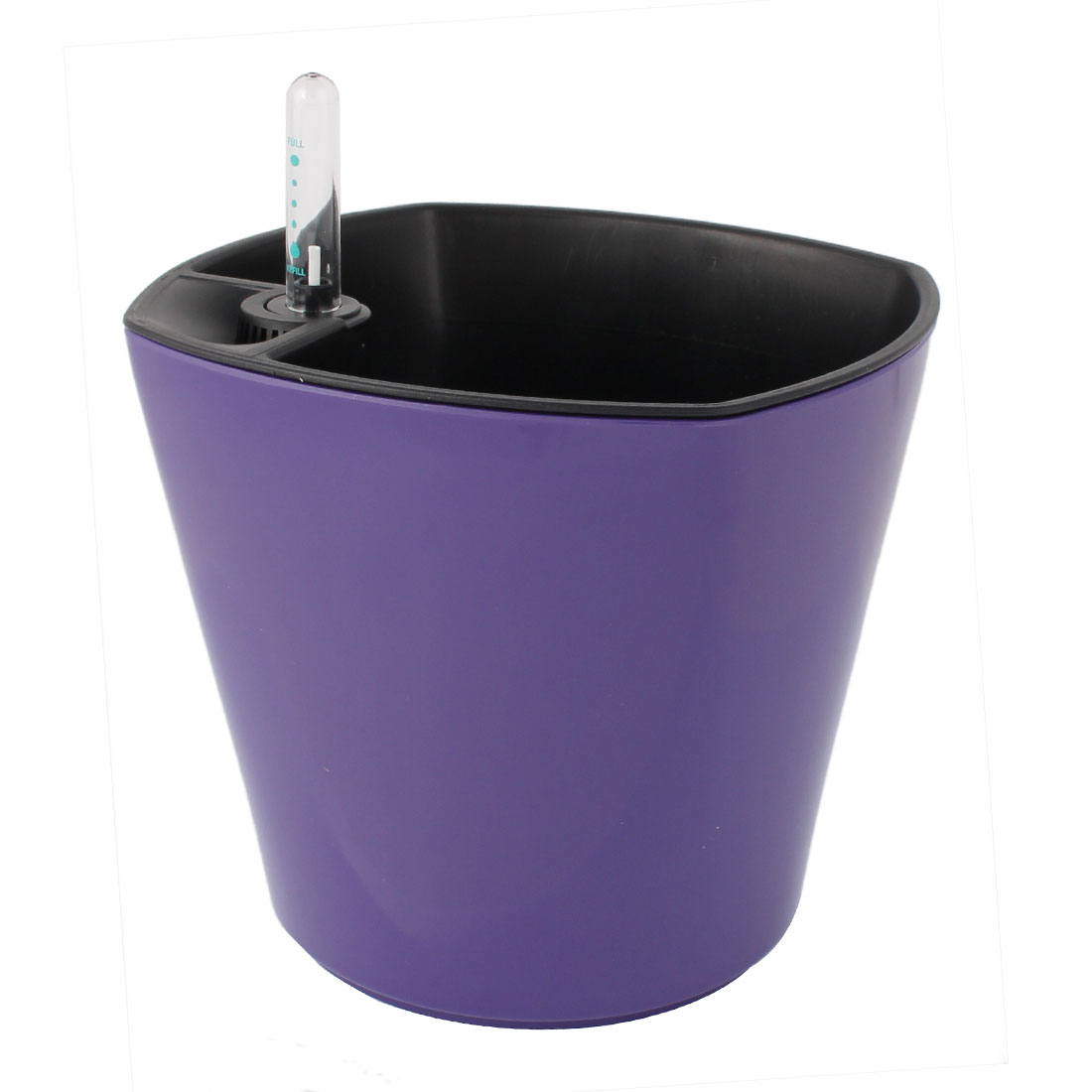 Office Plastic Self Watering Planter Flowerpot Purple w Water Level Indicator