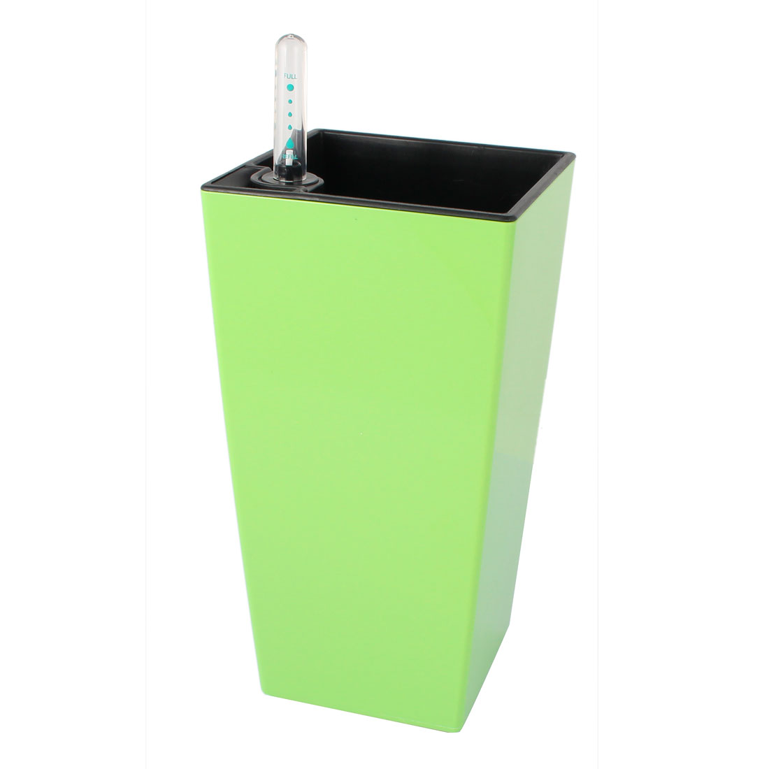 Plastic Rectangle Shape Self Watering Planter Green w Water Level Indicator
