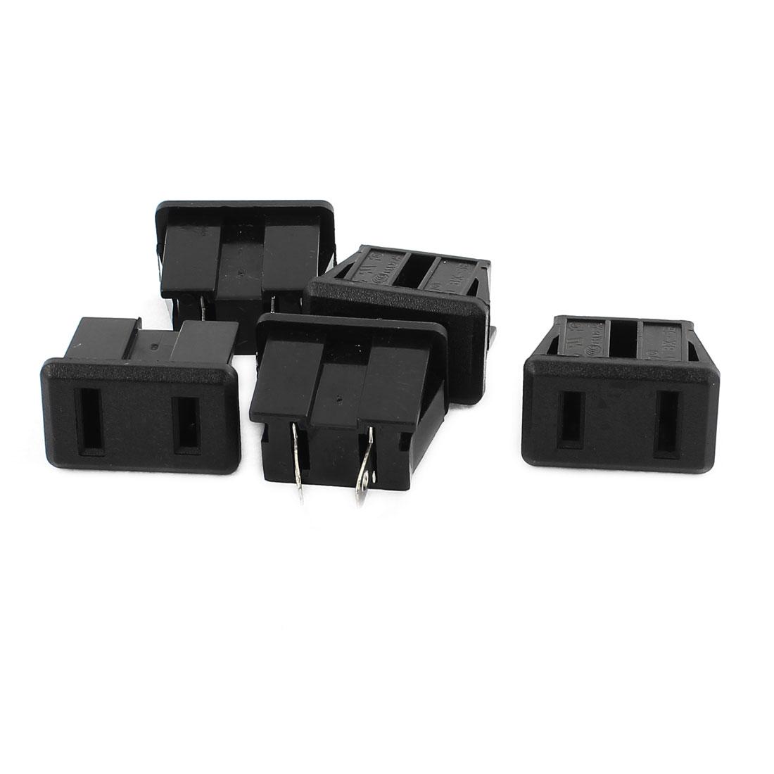 5pcs AC 125V 15A 2P Flat Plug US Power Socket Adapter Black