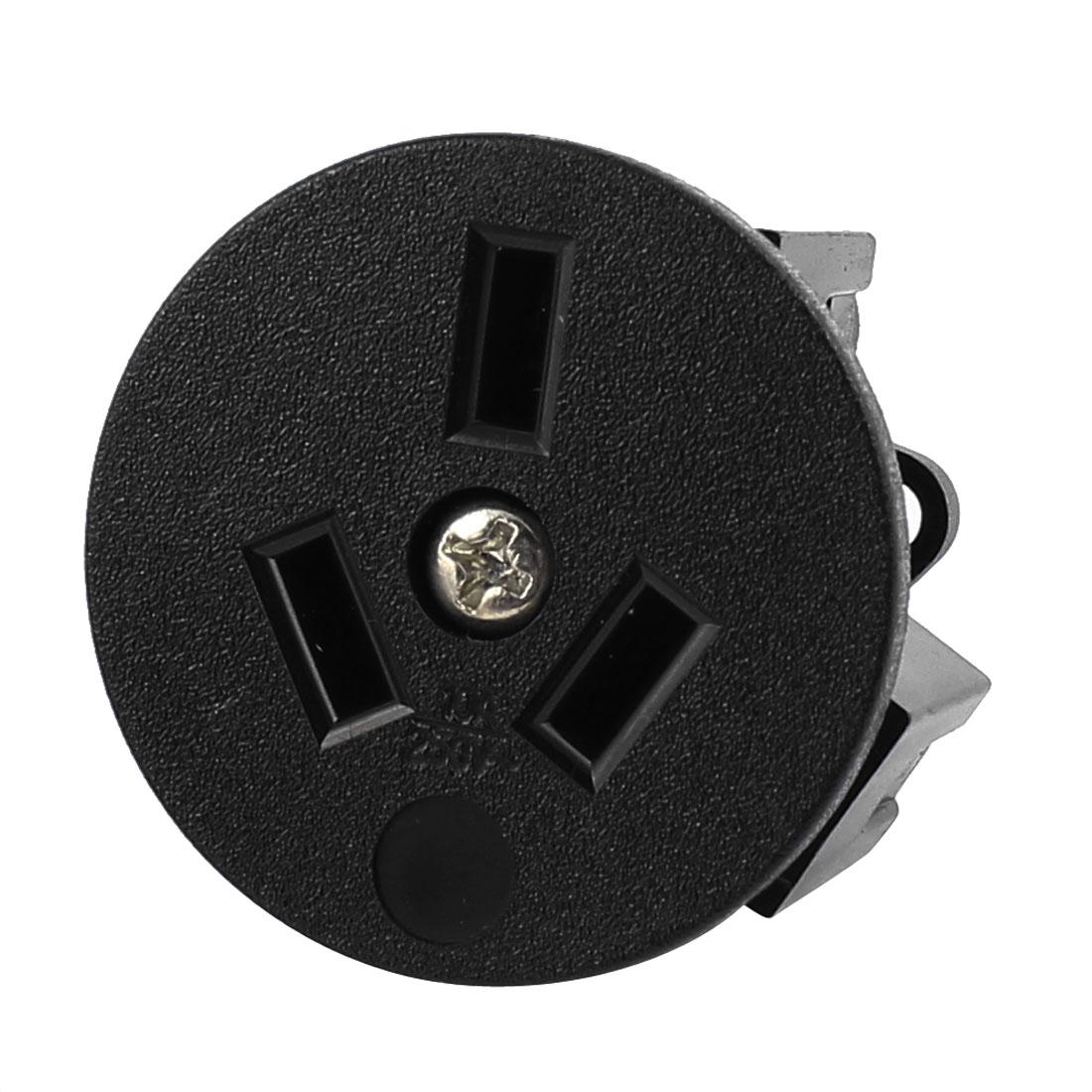 Black Round Shape AC 250V 10A AU 3 Terminals Power Socket Connector