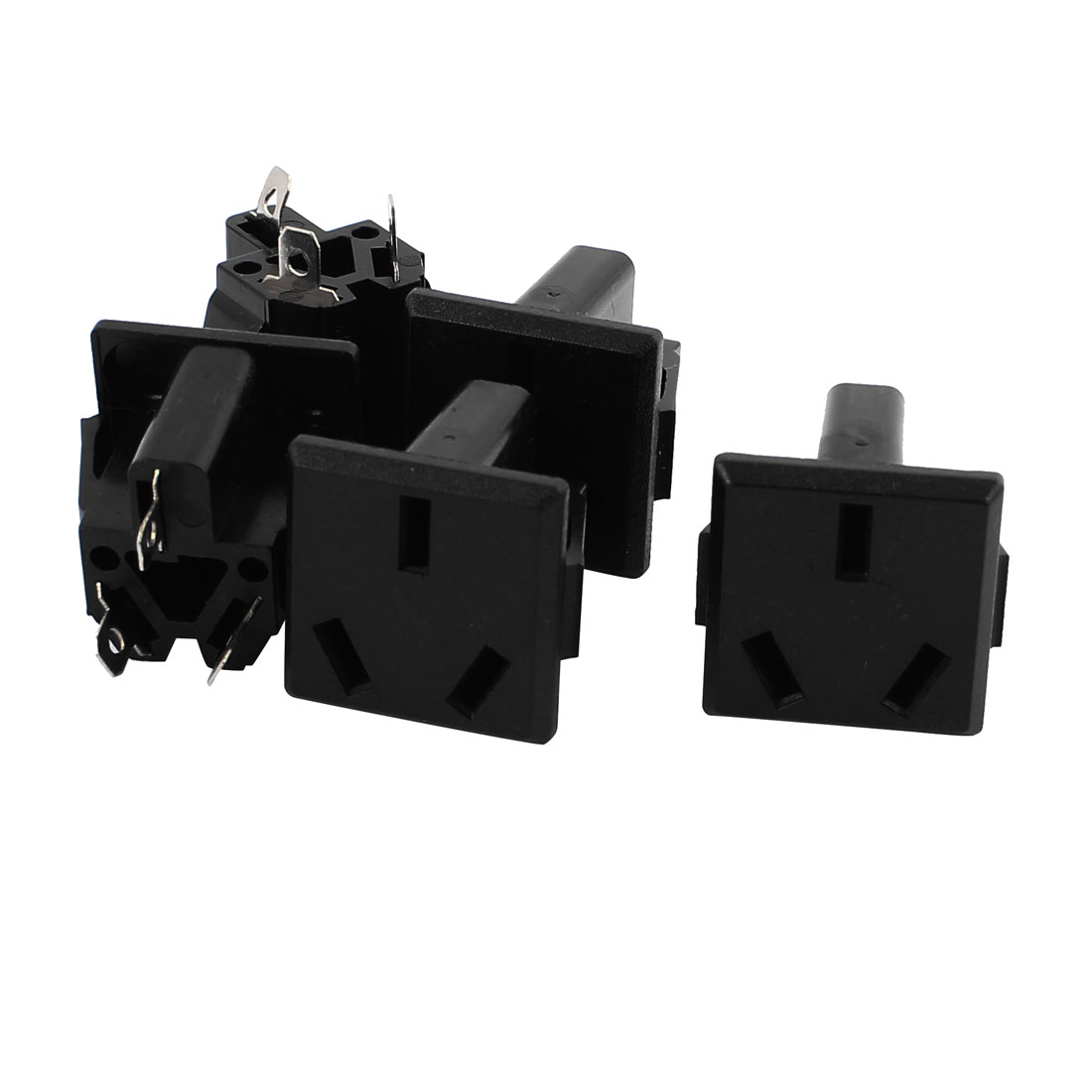 5Pcs AC 250V 10A AU Plug 3 Terminals Snap-in Power Socket Adapter Black