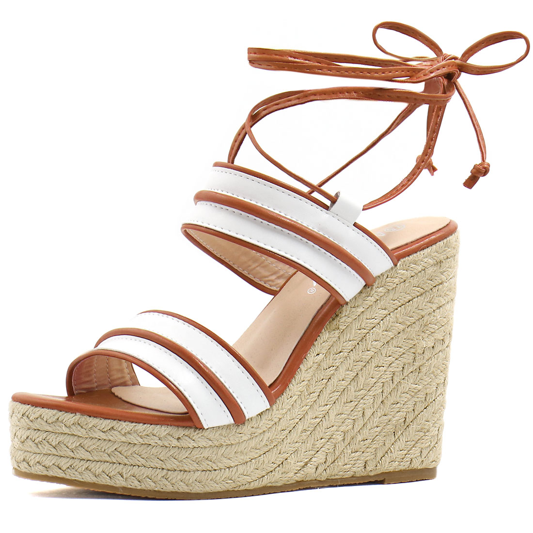 Women Striped Ankle Tie Espadrille Wedge Sandals White Camel US 6.5