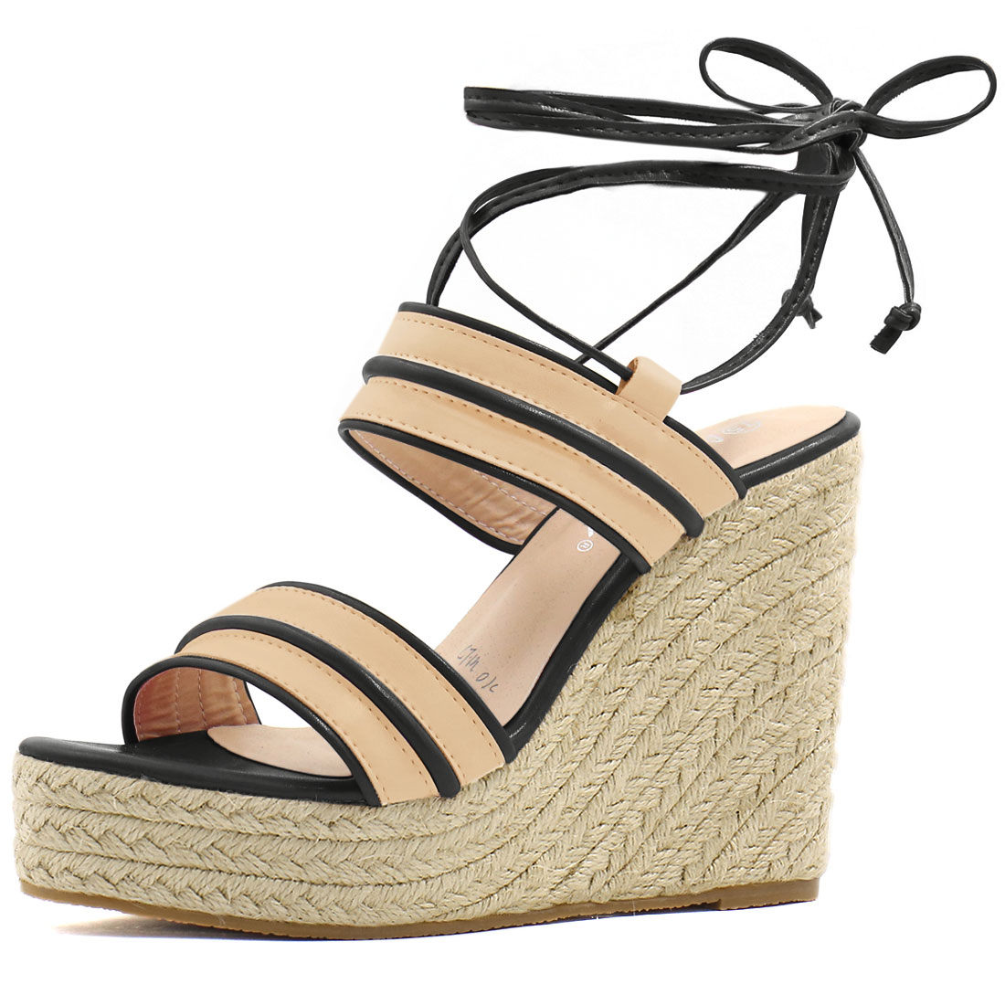 Women Striped Ankle Tie Espadrille Wedge Sandals Apricot Black US 7