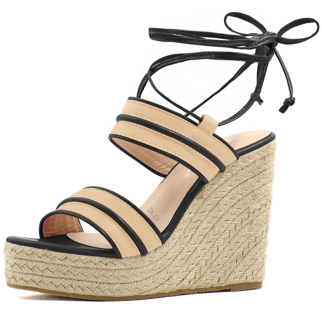 Women Striped Ankle Tie Espadrille Wedge Sandals Apricot Black US 9