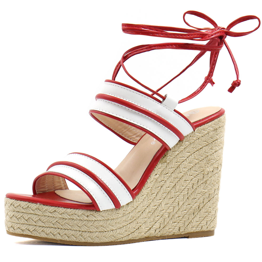 Women Striped Ankle Tie Espadrille Wedge Sandals White Red US 7