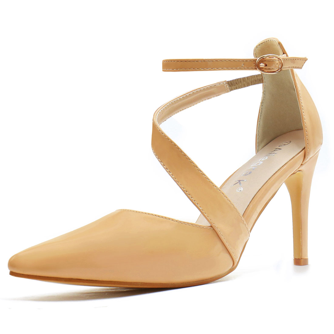 Women Asymmetrical Strap Stiletto Heel Pointy-Toe Pumps Nude US 7.5