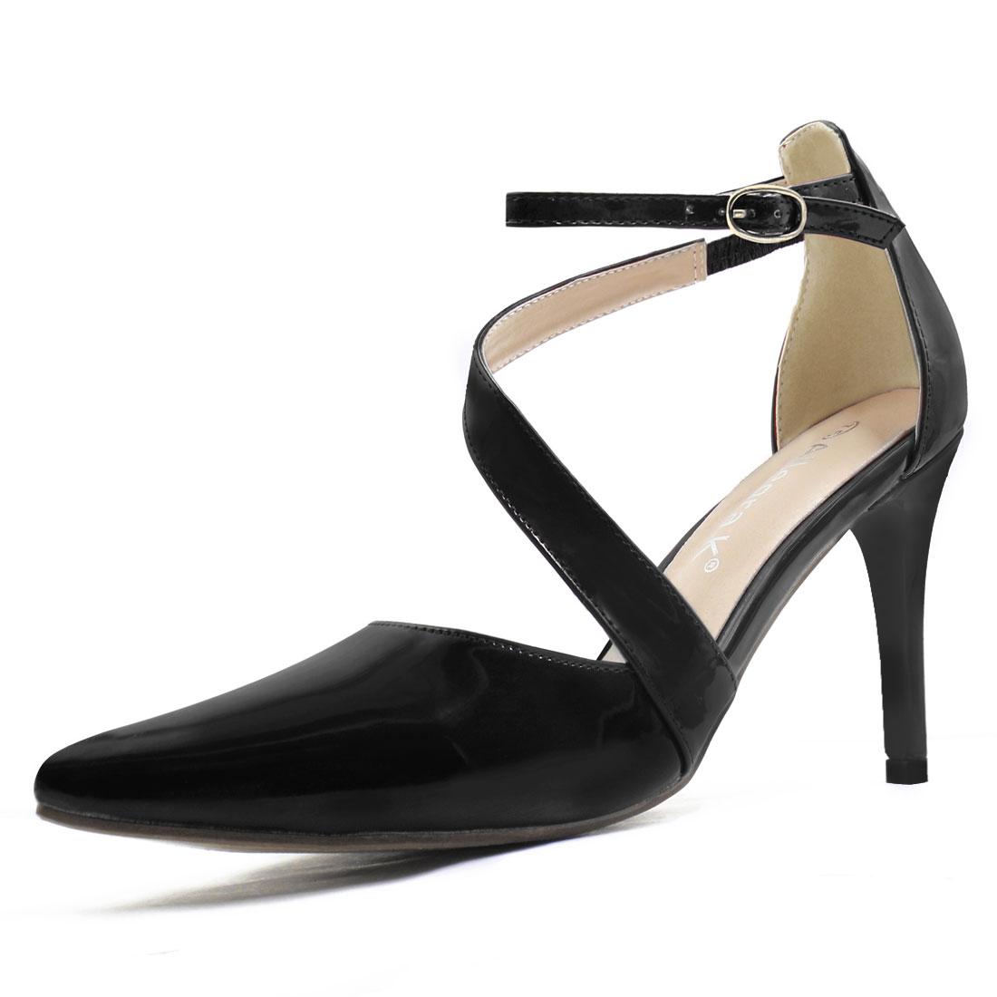 Women Asymmetrical Strap Stiletto Heel Pointy-Toe Pumps Black US 6.5