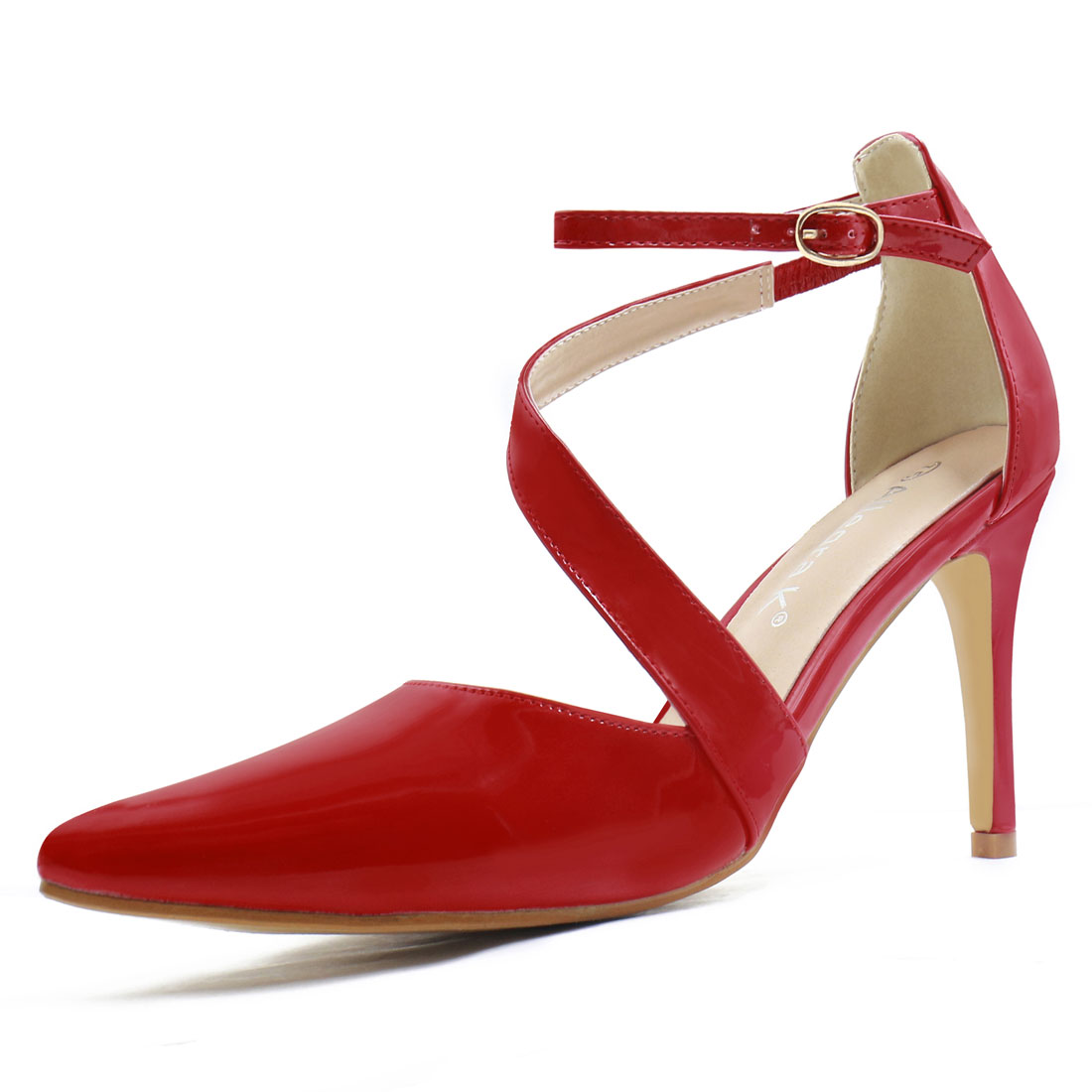 Women Asymmetrical Strap Stiletto Heel Pointy-Toe Pumps Red US 7.5