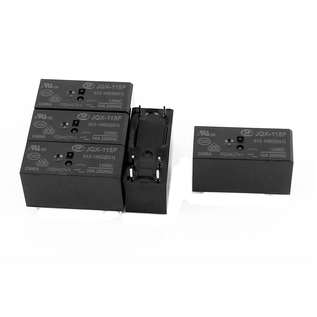 5 Pcs 12VDC 250VAC 16A 6 Terminal NO SPST JQX-115F-012-1HS3 Power Relay For PCB