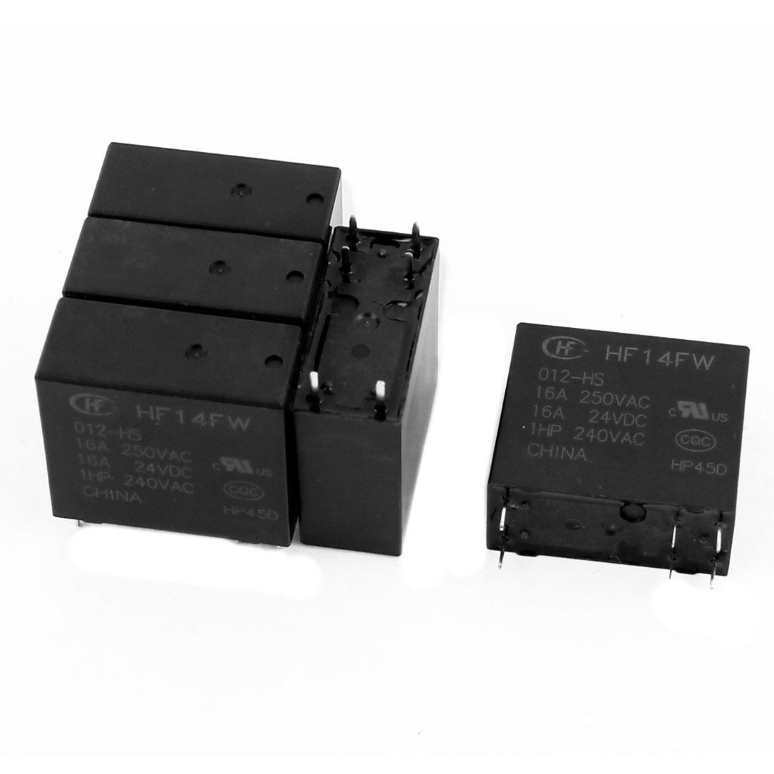 5 Pcs 24VDC 250VAC 16A 6 Terminal SPST NO HF14FW/012-HS Power Relay