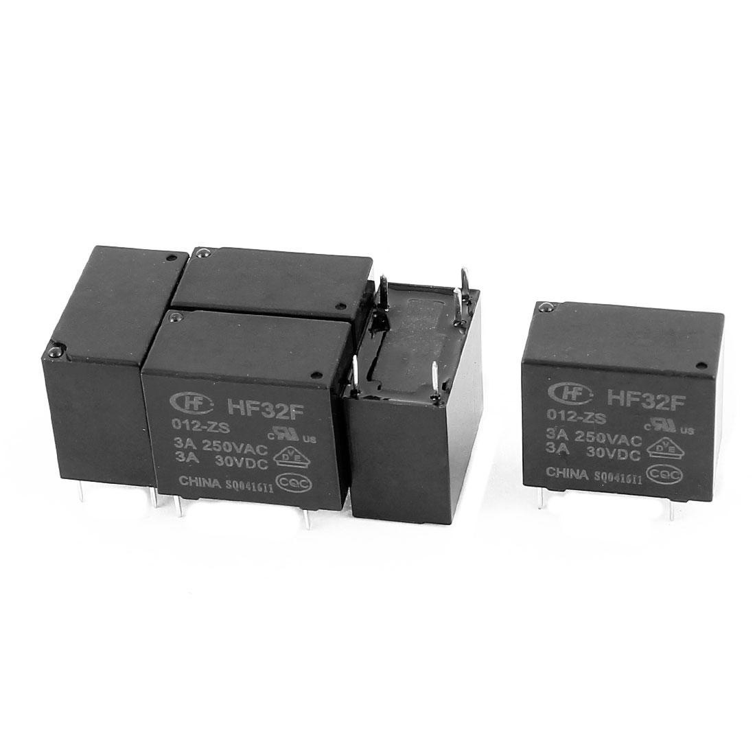 5 Pcs 30VDC 250VAC 3A 5 Terminal SPDT Conversion HF32F-012-ZS Power Relay