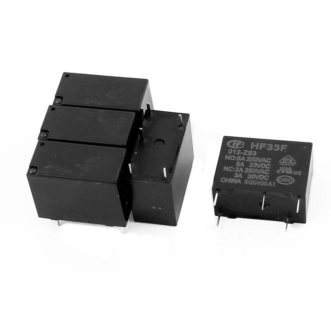 5 Pcs 30VDC 250VAC 5A 5 Terminal Conversion SPDT HF33F-012-ZS3 Power Relay