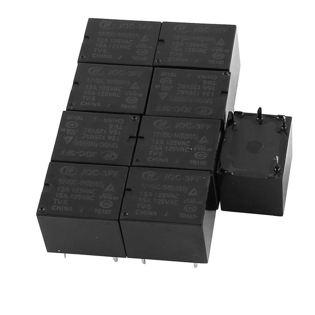 10 Pcs 12VDC 125VAC 15A 4 Pole SPST NO JQC-3FF/012-1HS(511) Power Relay