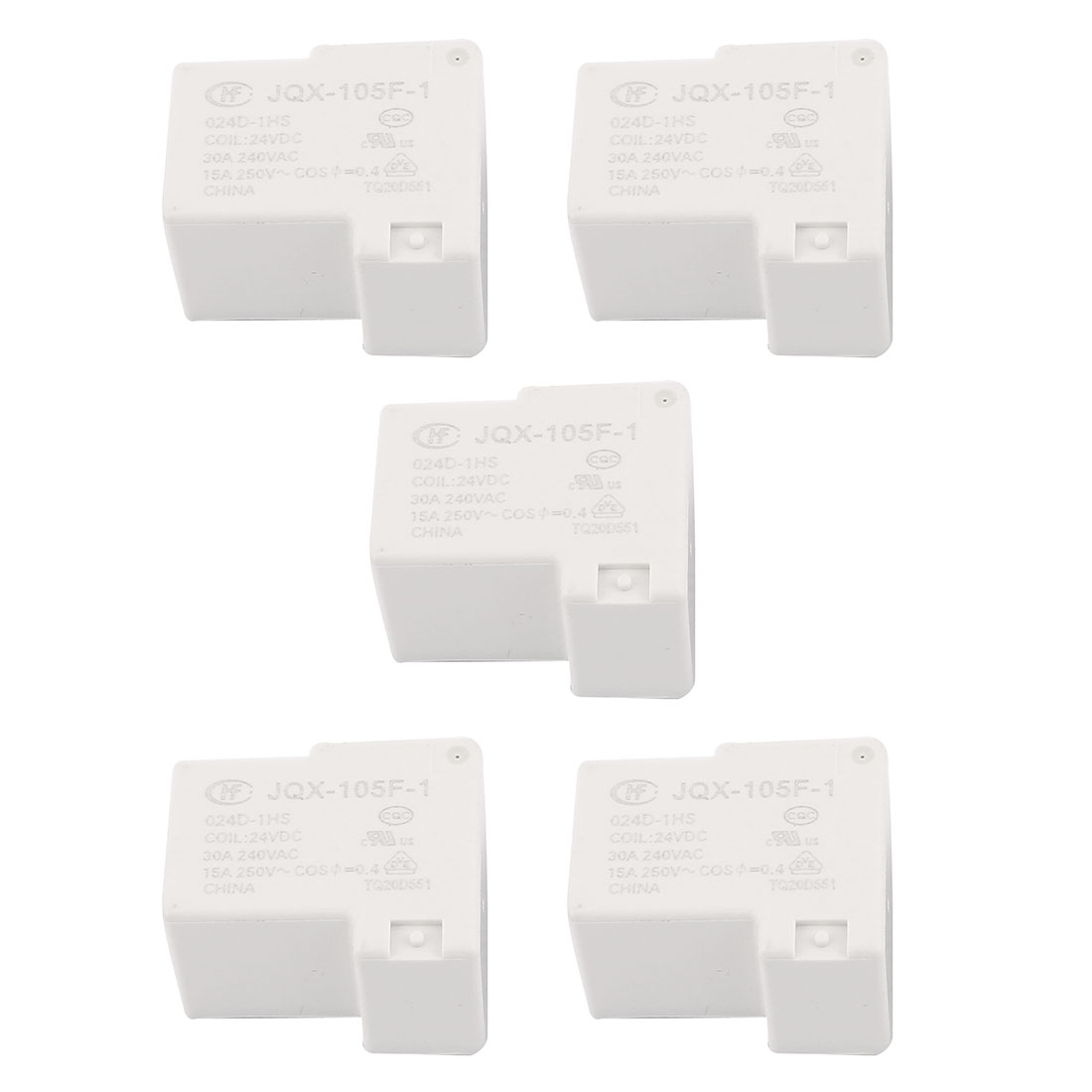 5 Pcs 24VDC 250VAC 15A 4 Terminal SPST NO JQX-105F-1/024D-1HS Power Relay