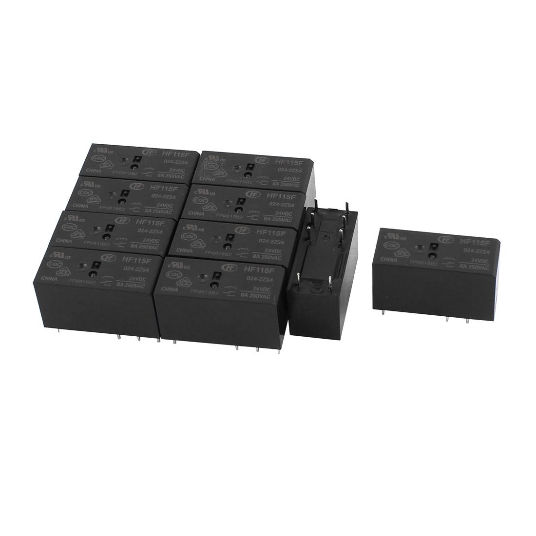 10 Pcs 24VDC 250VAC 8A 8 Terminal Dual Conversion DPDT HF-115F-024-2ZS4 Power Relay