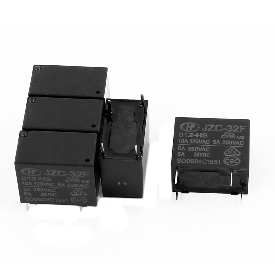 5 Pcs 12VDC 250VAC 5A 4 Terminal SPST NO JZC-32F-012-HS Power Relay