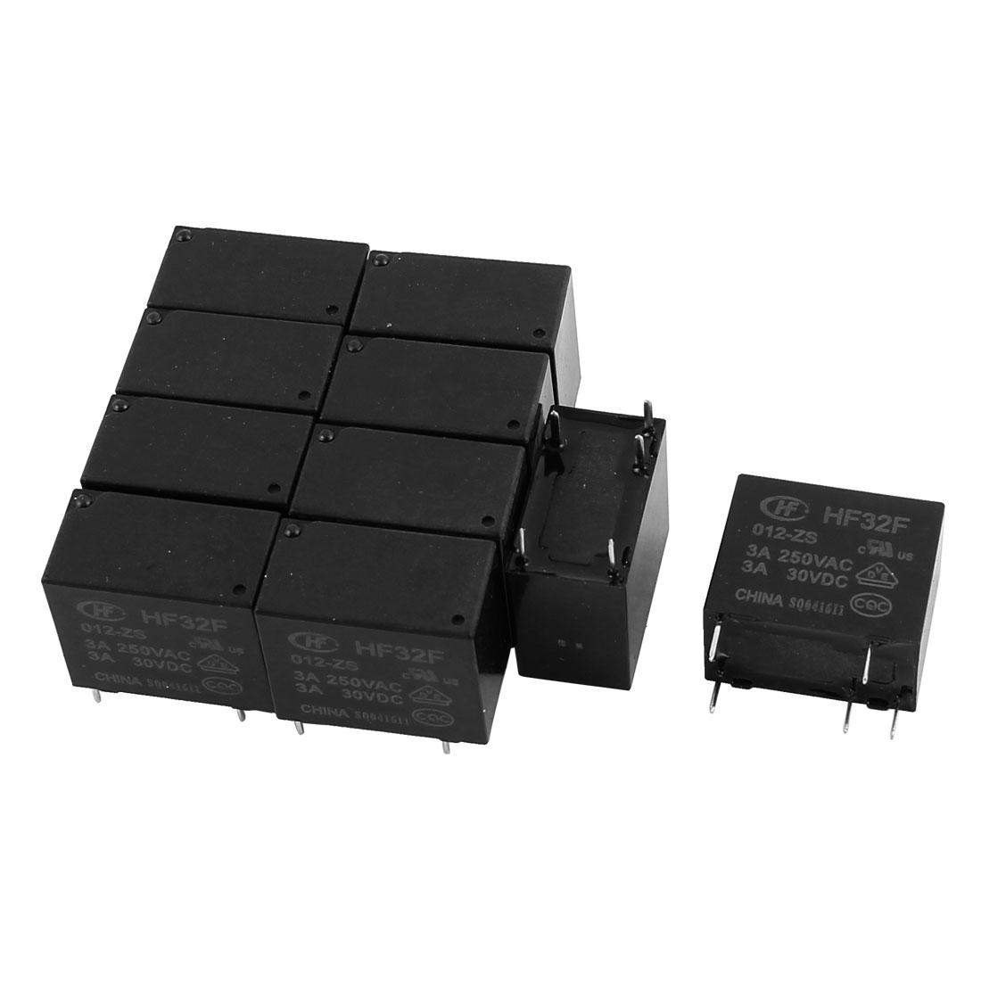 10 Pcs 30VDC 250VAC 3A 5 Terminal SPDT Conversion HF32F-012-ZS Power Relay