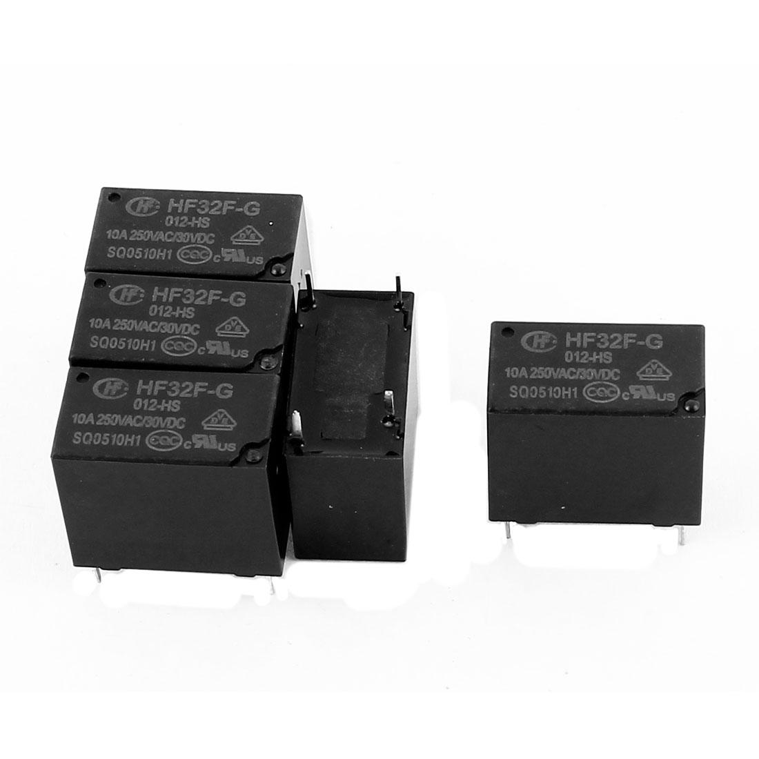 5 Pcs 30VDC 250VAC 10A 4 Terminal NO SPST HF32F-G/012-HS Power Relay