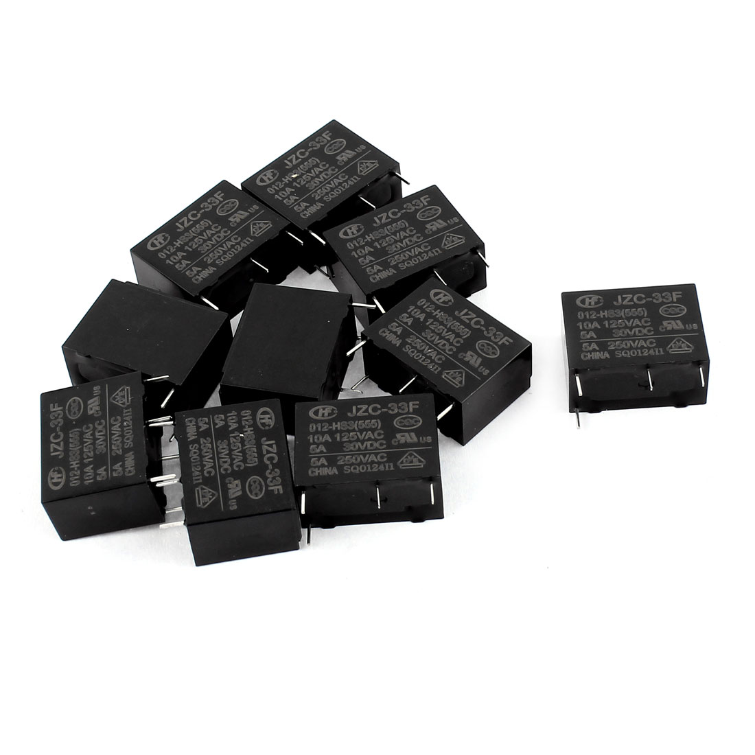 10 Pcs 30VDC 5A 125VAC 10A 4 Terminal NO SPST JZC-33F-012-HS3 Power Relay