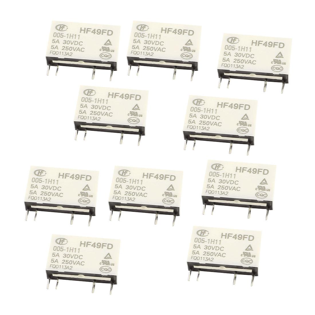 10 Pcs 30VDC 250VAC 5A 4 Terminal NO SPST HF49FD/005-1H11 Power Relay