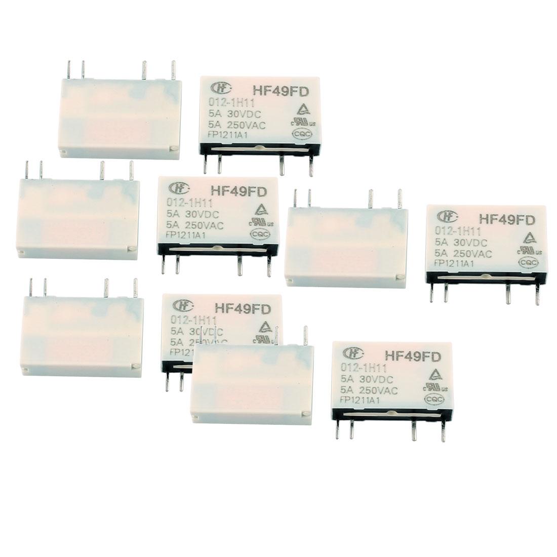 10 Pcs 12VDC 250VAC 5A 4 Terminal NO SPST HF49FD/012-1H11 Power Relay