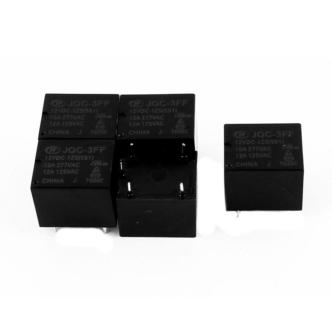 5 Pcs 12VDC 277VAC 10A 5 Pole SPDT Conversion JQC-3FF/012-1ZS(511) Power Relay
