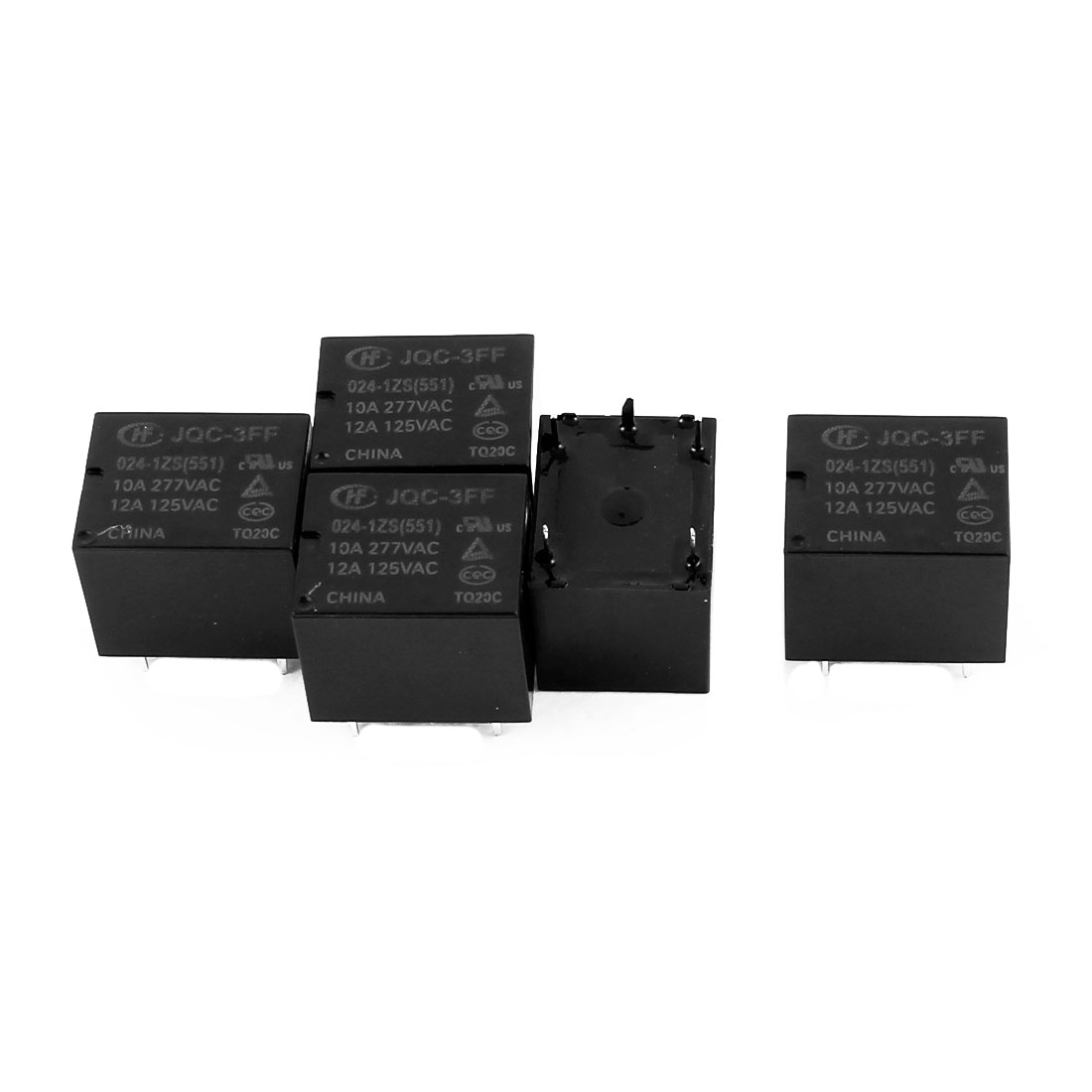 5 Pcs 24VDC 277VAC 10A 5 Pole SPDT Conversion JQC-3FF/012-1ZS(511) Power Relay