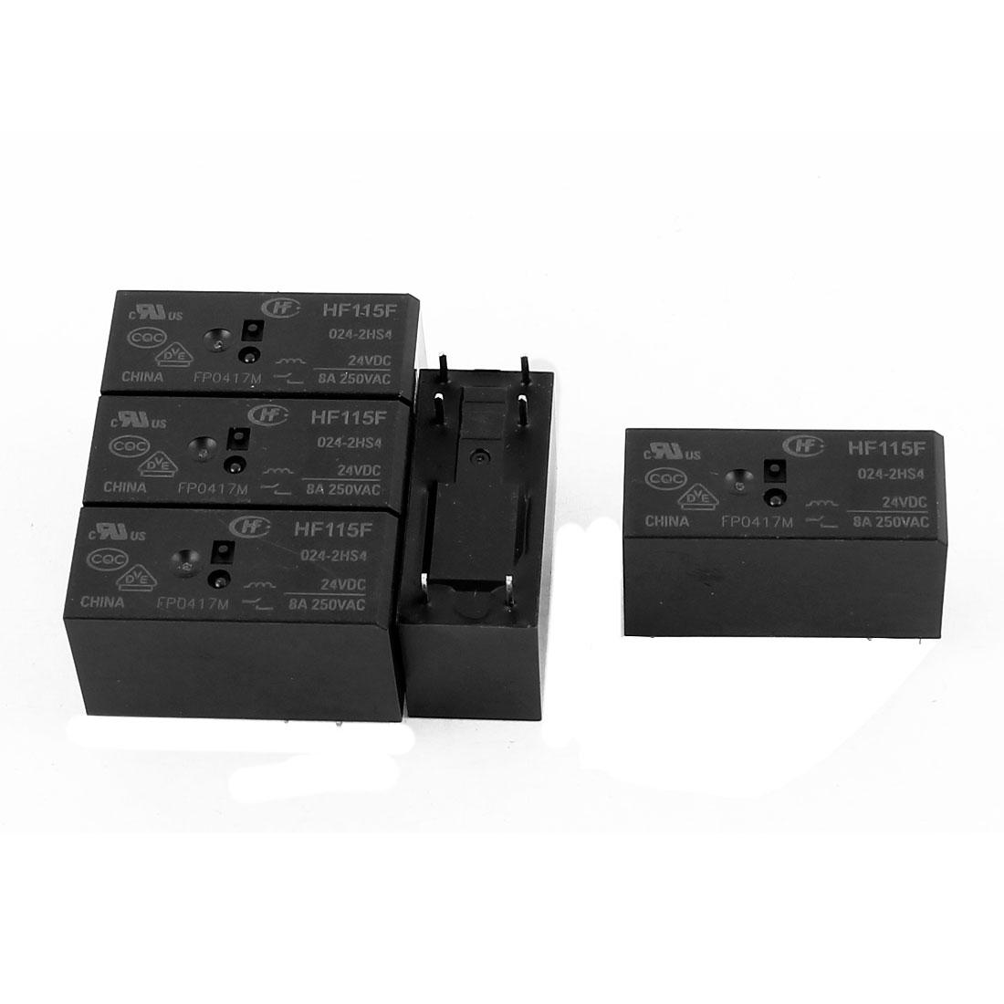 5 Pcs 24VDC 250VAC 8A 4 Terminal DPST Dual NO HF-115F-024-2HS4 Power Relay