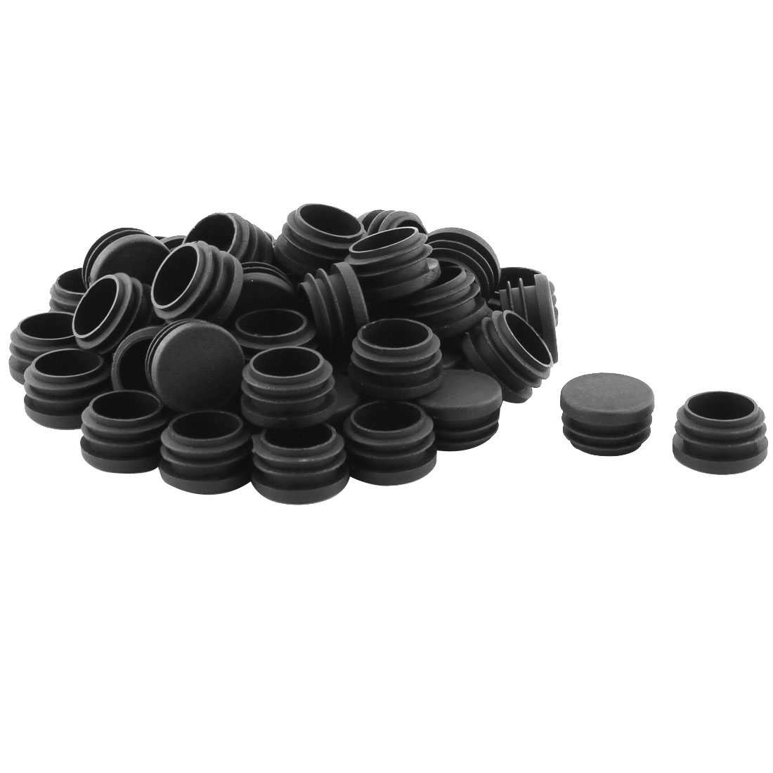 Table Chair Feet Plastic Round Shape Pipe Tube Insert Cap Black 50 Pcs