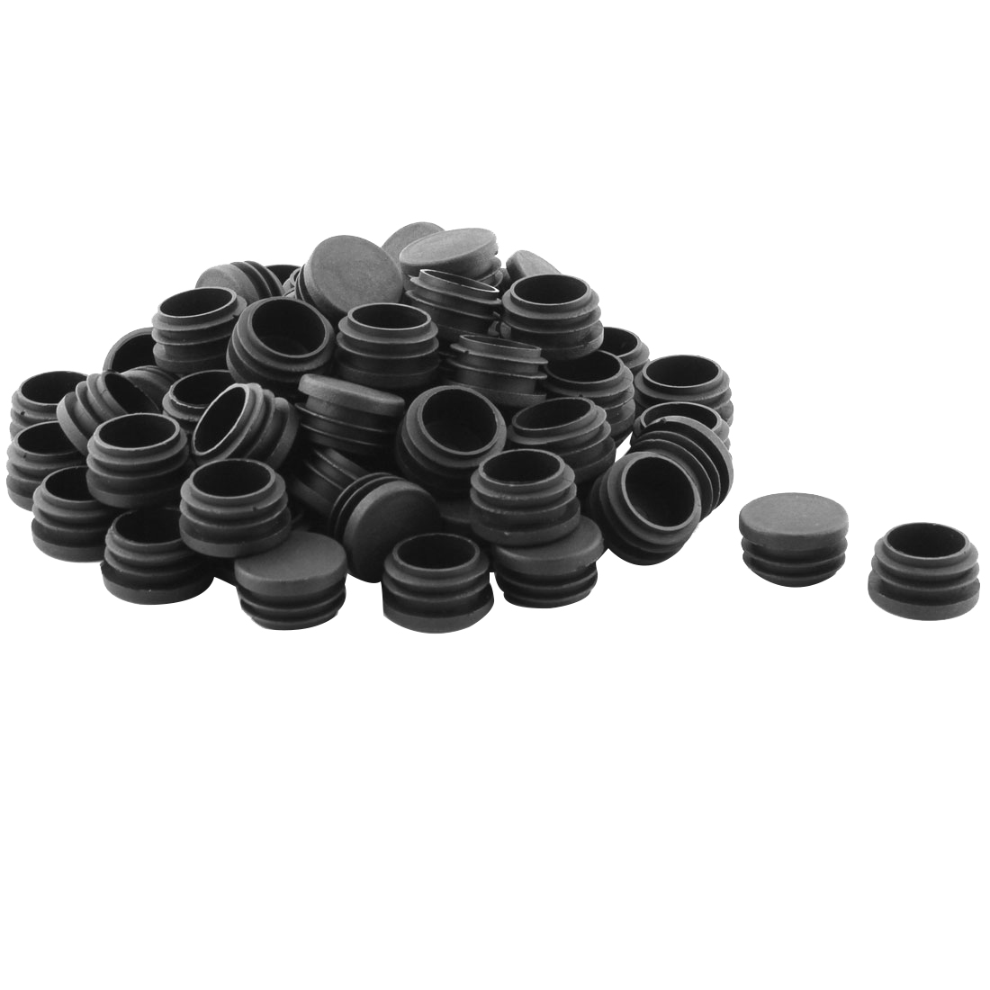 Table Chair Feet Plastic Round Shaped Pipe Tube Insert Cap Black 30mm Dia 70 Pcs