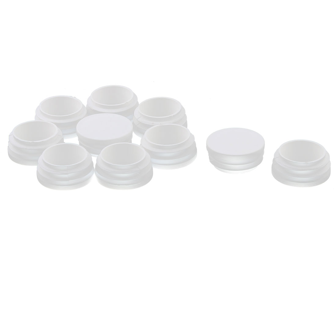 Plastic Feet Legs Round Shaped Tube Pipe Inserts End Caps Covers White 10 PCS