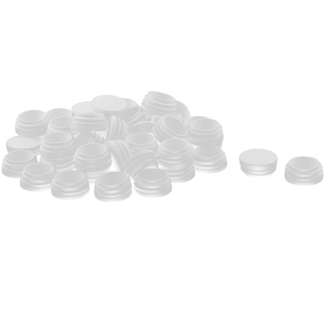 Furniture Desk Chair Leg Feet Plastic Round Head Pipe Tube Insert White 50 Pcs