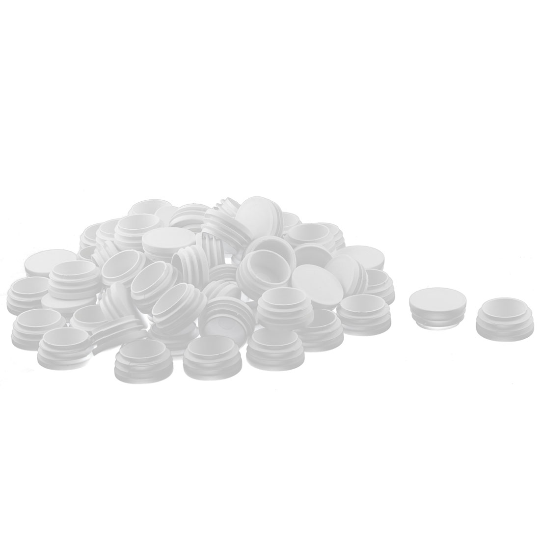Table Chair Leg Feet Plastic Round Head Tube Insert End Cap White 70 Pcs
