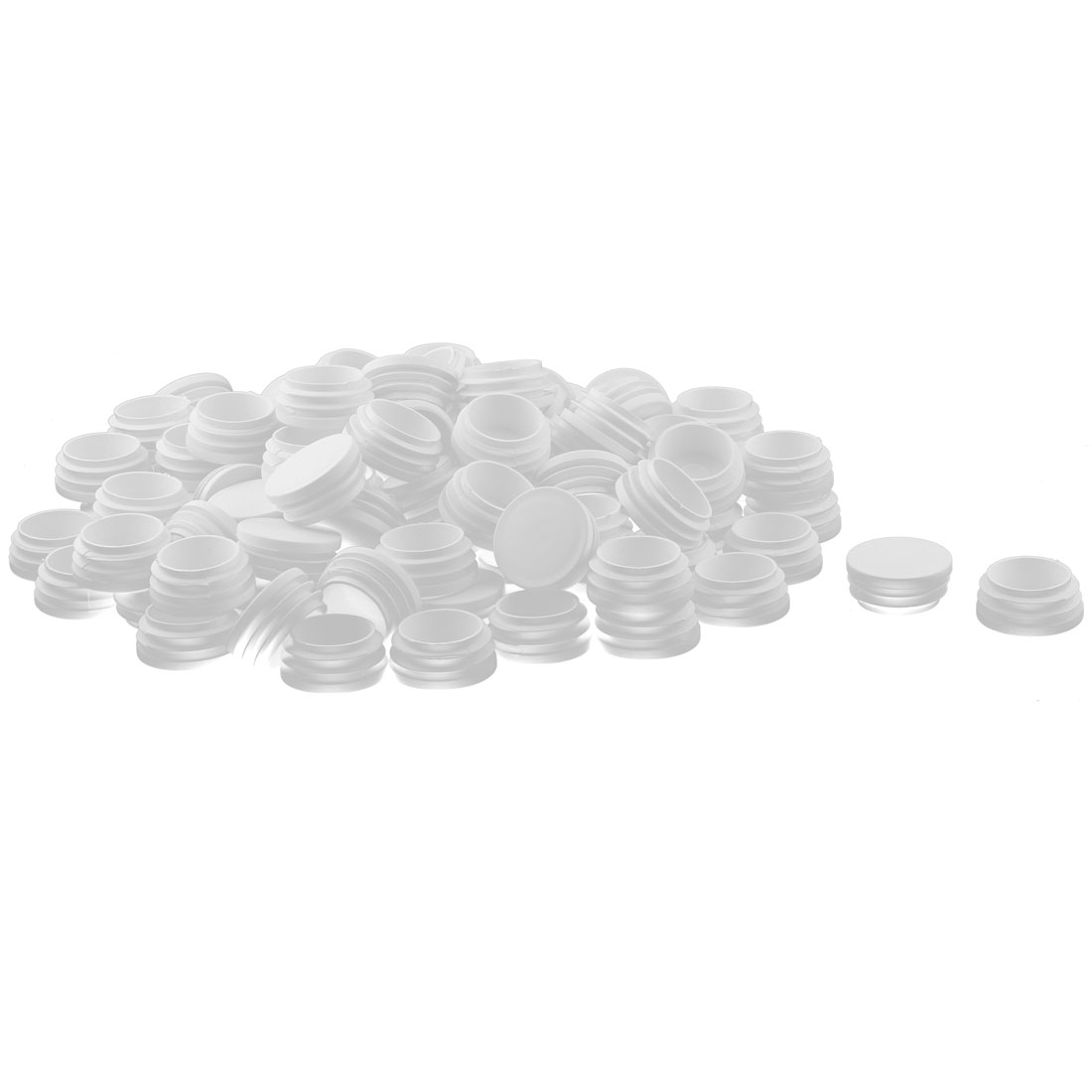 Home Plastic Round Shaped Furniture Table Chair Feet Tube Inserts White 38mm Dia 100 Pcs