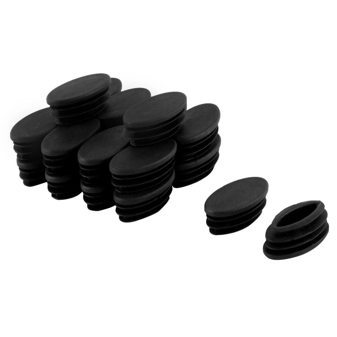 Table Chair Leg Feet Plastic Oval Pipe Tube Insert Black 20 x 40mm 20 Pcs