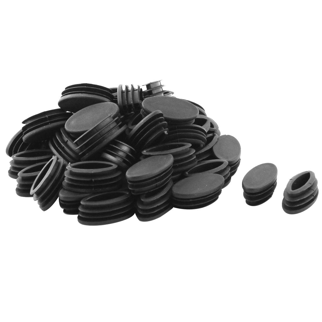 Desk Chair Feet Plastic Oval Pipe Tube Insert End Cap Black 20 x 40mm 50 Pcs