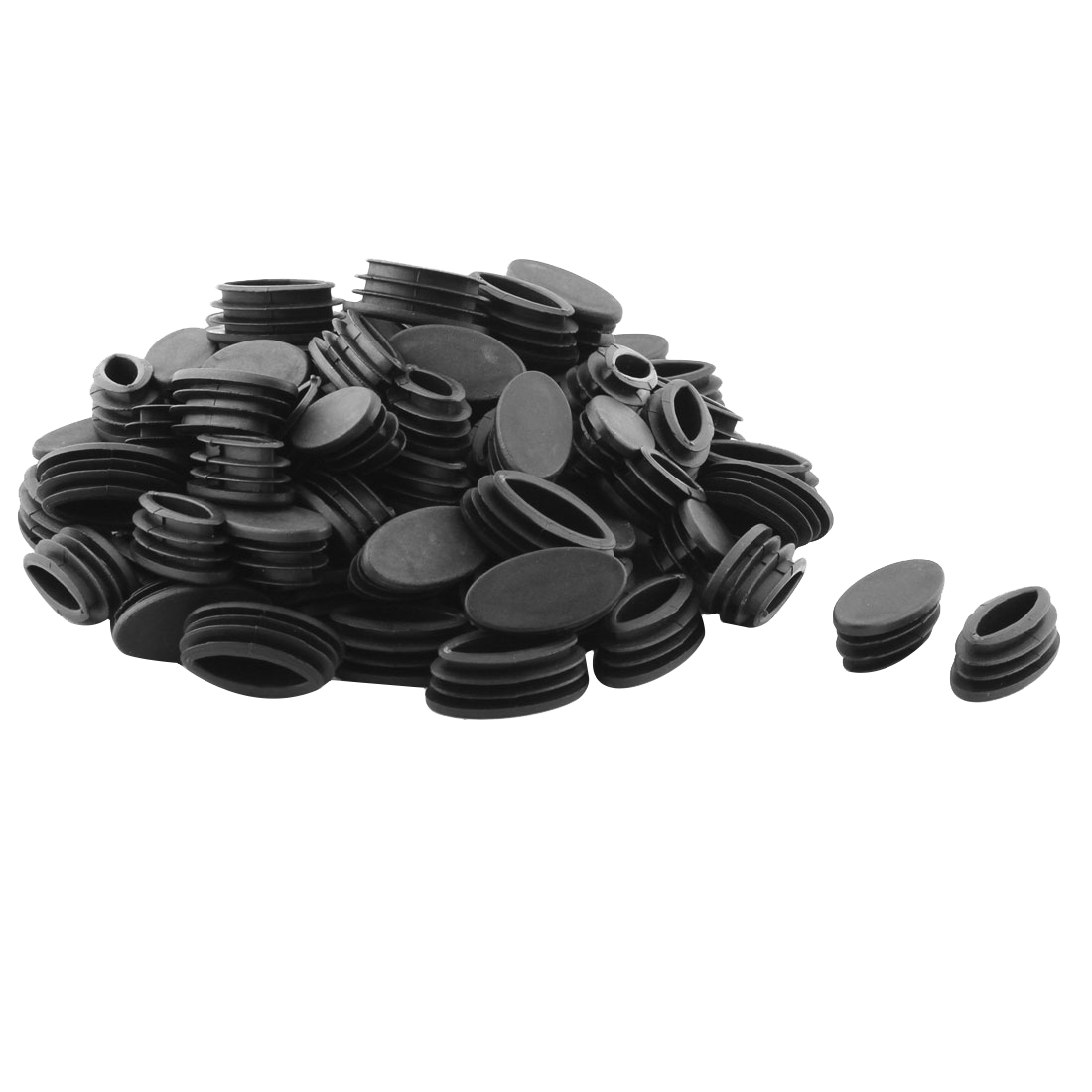 Furniture Table Leg Plastic Oval Tube Pipe Insert End Cap Black 20 x 40mm 80 Pcs