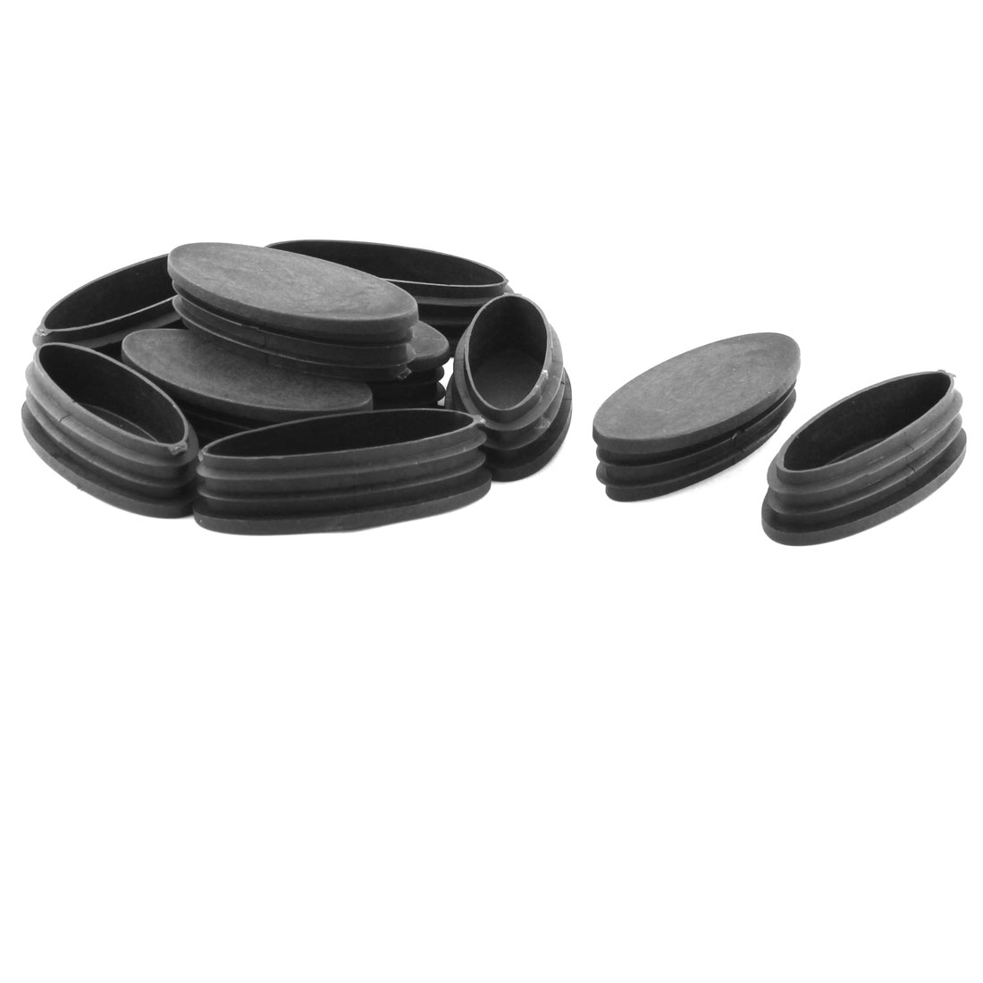Furniture Table Chair Leg Feet Plastic Oval Pipe Tube Insert Black 10 Pcs