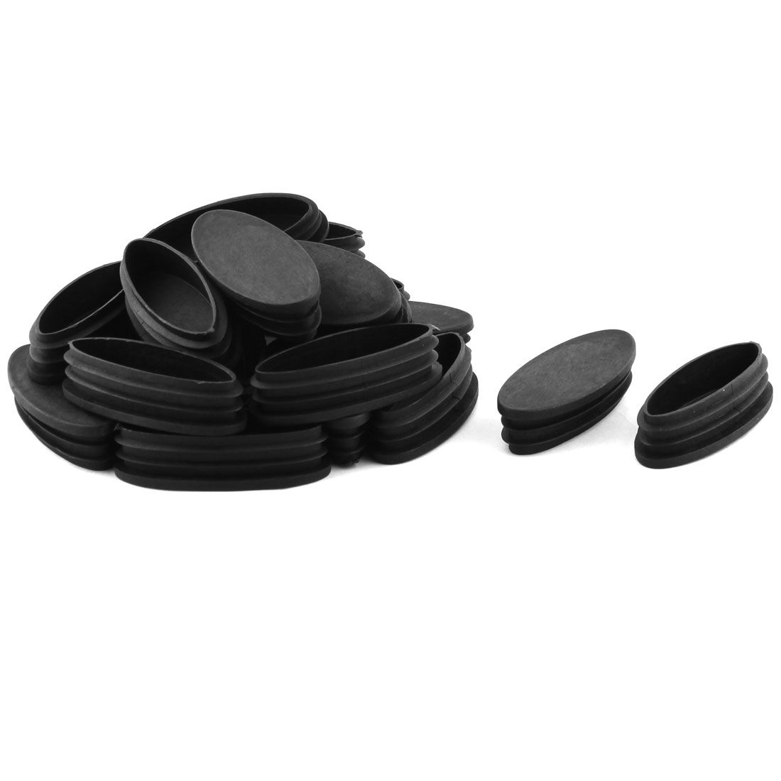 Furniture Table Chair Feet Plastic Oval Tube Insert Cap Black 80 x 35mm 20 Pcs