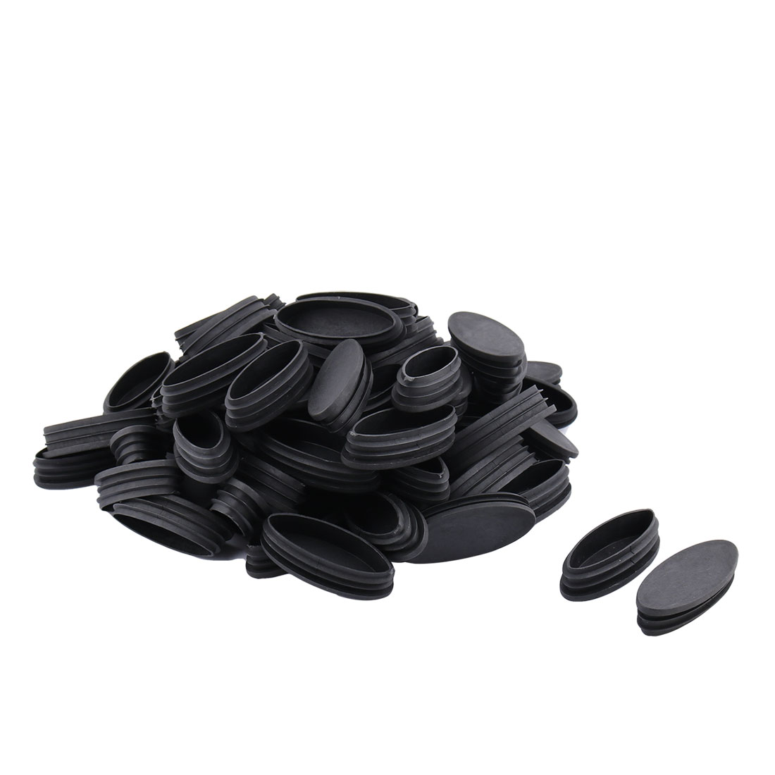 Furniture Plastic Olive Shaped End Cap Tube Insert Black 35mm x 80mm 70pcs