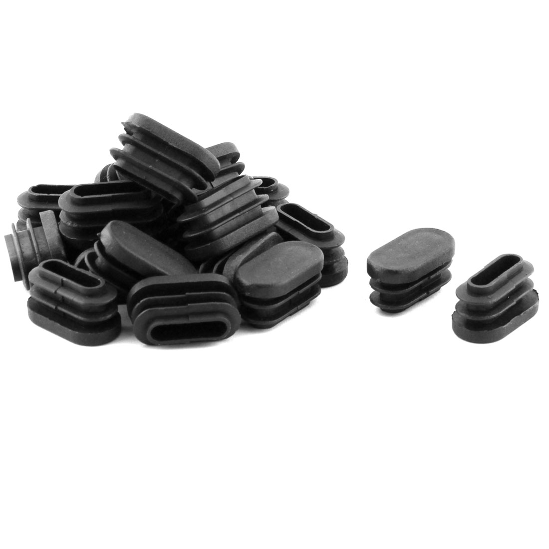 Desk Feet Legs Plastic Oval Shaped Tube Pipe Inserts End Caps Black 20 PCS