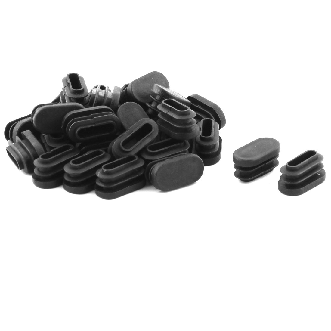 Chair Legs Plastic Oval Shaped Tube Pipe Inserts End Caps 30 x 15mm 30 PCS