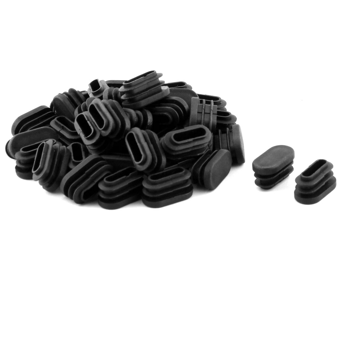 Chair Feet Plastic Oval Shaped Flat Base Tube Pipe Inserts Black 40 PCS