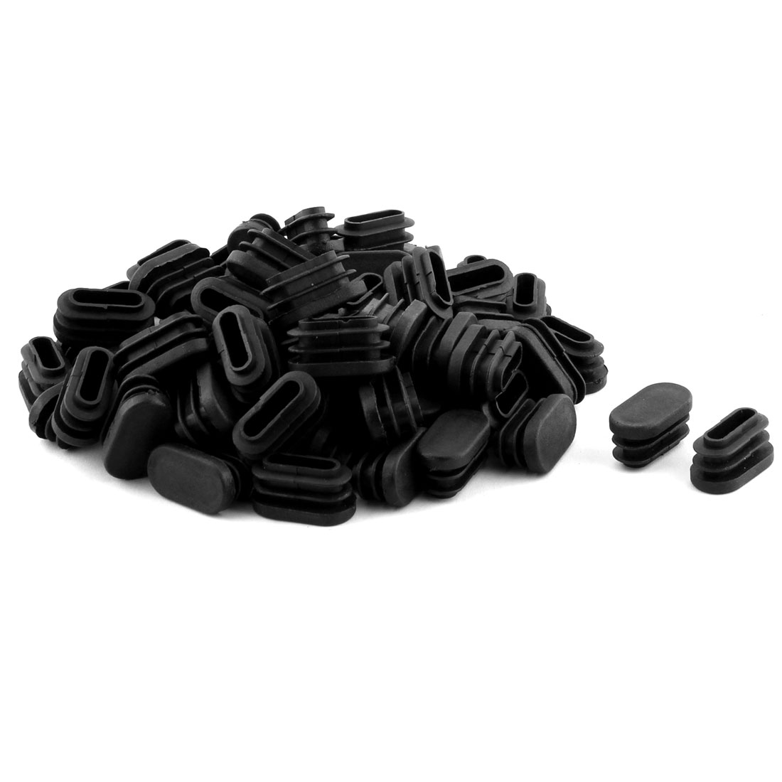 Table Chair Legs Plastic Oval Shaped Tube Pipe Inserts End Caps Black 70 PCS