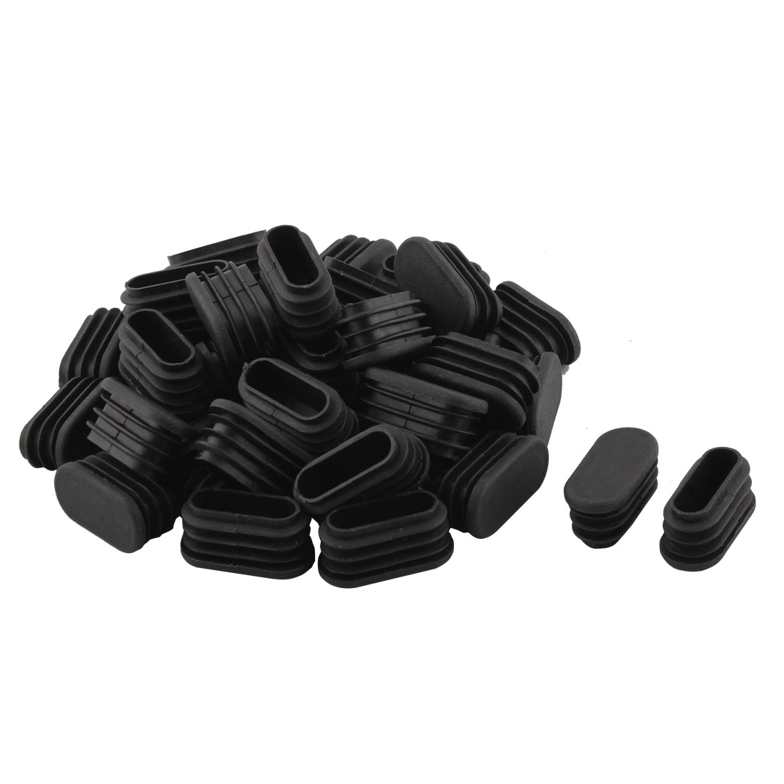 Household Plastic Rectangular Shaped Chair Leg Tube Pipe Insert Black 1.6 x 3.4cm 40 PCS