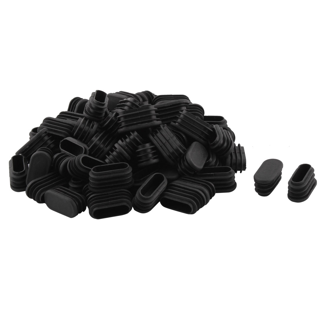 Household Plastic Rectangular Shaped Chair Leg Tube Pipe Insert Black 1.6 x 3.4cm 70 PCS