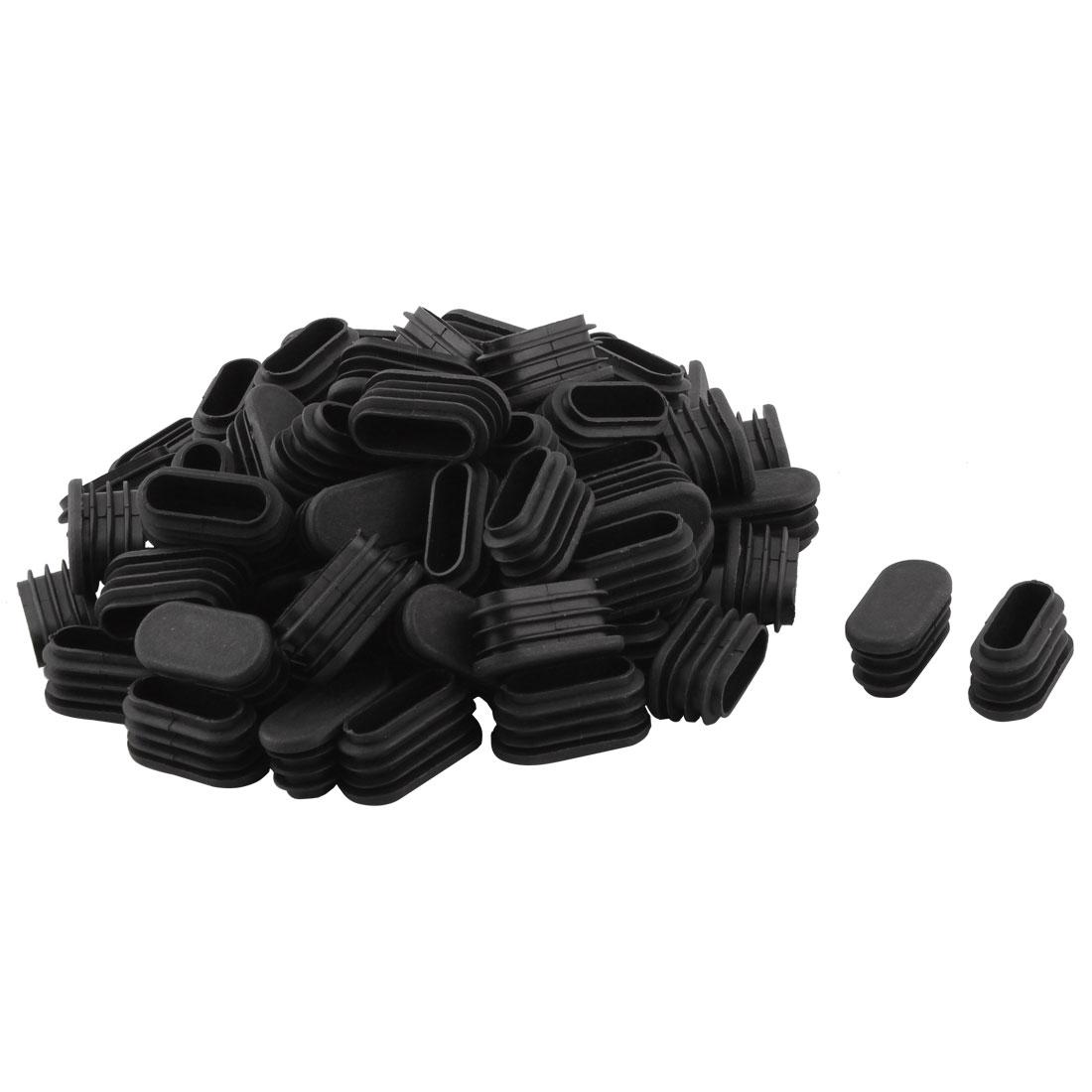Household Plastic Rectangular Shaped Chair Leg Tube Pipe Insert Black 1.6 x 3.4cm 80 PCS