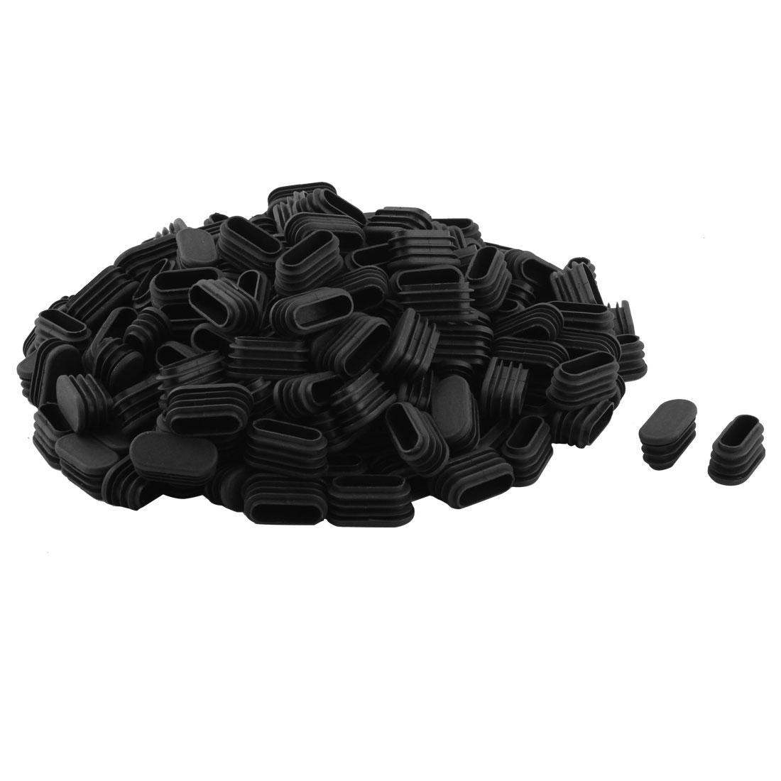 Household Plastic Rectangular Shaped Chair Leg Tube Pipe Insert Black 1.6 x 3.4cm 200 PCS