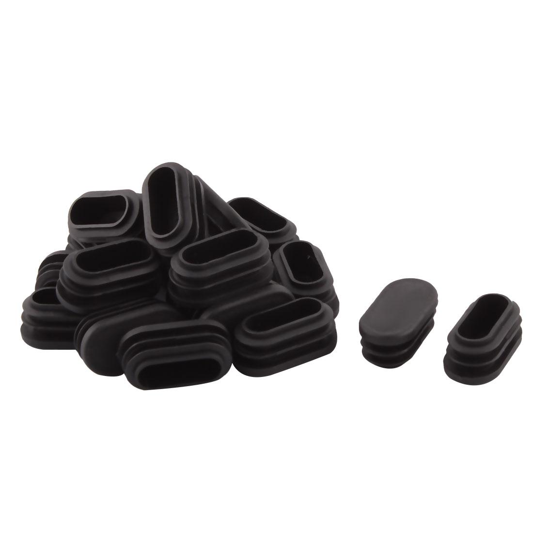 Household Plastic Rectangular Shaped Chair Leg Tube Pipe Insert Black 4 x 2cm 20 PCS