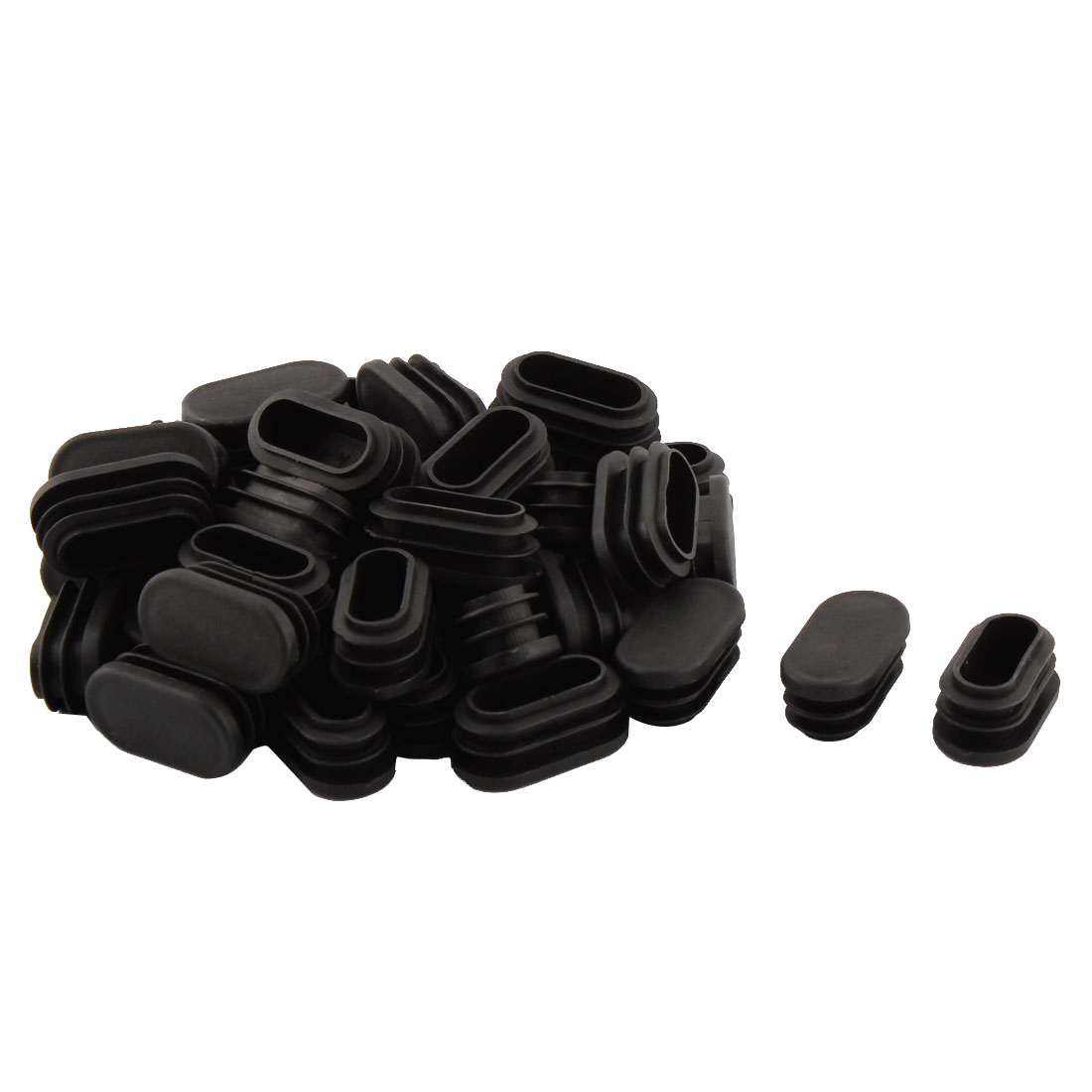 Household Plastic Rectangular Shaped Chair Leg Tube Pipe Insert Black 4 x 2cm 40 PCS